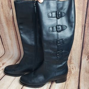 ECCO Leather Knee High Buckle Detail Boots Size 8